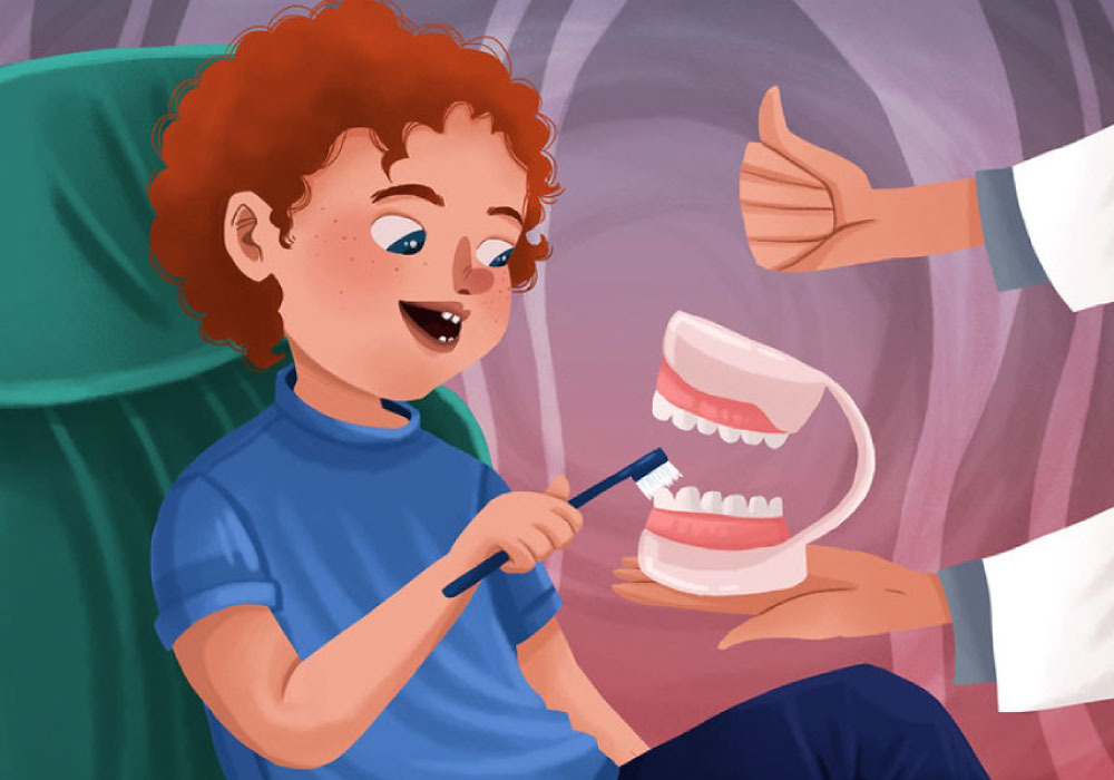 Cartoon of a young boy getting a lesson from brushing at the dentist.